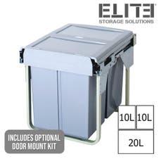 Domestique 40L Triple Slide Out Concealed Waste Bin - for a 450mm Cupboard - with Door Mount Kit