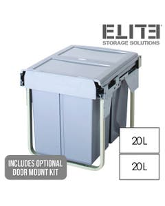 ELITE Twin Pull Out Kitchen Waste Bin - 2x20L - for 450mm Cabinet