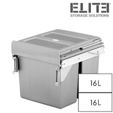 ELITE Twin Pull Out Concealed Waste Bin - Side-Mounted - 2x16L - 400mm Cabinet