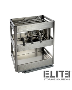 CHEF Undercounter Pull Out Organiser - Bottom Mounted - for a 300mm Cupboard
