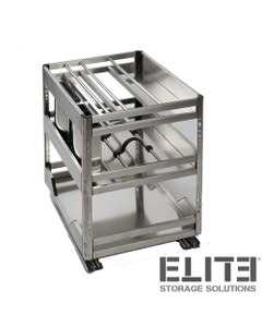 CHEF Undercounter Pull Out Organiser - Bottom Mounted - for a 400mm Cupboard