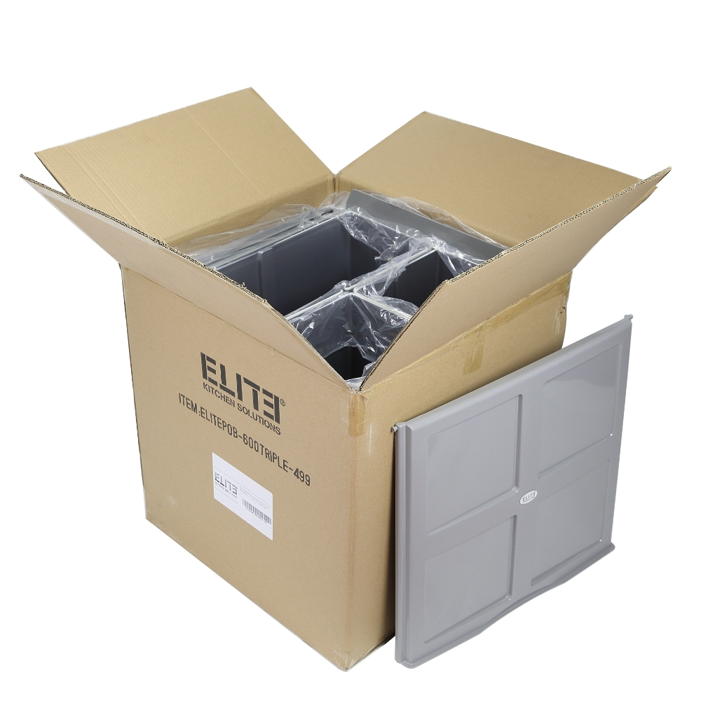 68l Triple Slide Out Kitchen Bin Pull Out Waste Rubbish