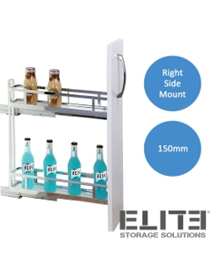 elite provedore 150mm under bench pull out cabinet 2 tier right side mount