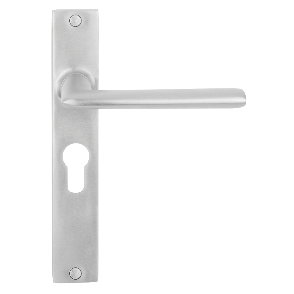 Nordic Euro Door Lever Handle on Long Plate - 48.5mm Centre
