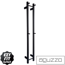 EZY FIT Heated Towel Rail - Double Vertical Square Tube - Bottom Wired - (200mm x H1400mm) - Matte Black