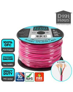 4 core 50 metres 16 awg pink professional in-wall speaker cable