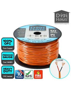 2 core 50 metres 14 awg orange professional in-wall speaker cable