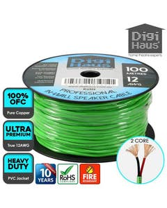 2 core 100 metres 12 awg green professional in-wall speaker cable