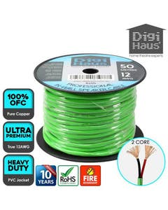 2 core 50 metres 12 awg green professional in-wall speaker cable
