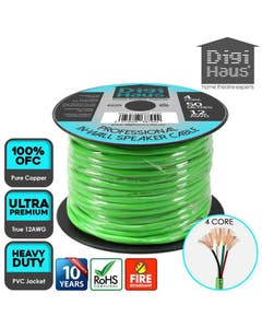4 core 50 metres 12 awg green professional in-wall speaker cable