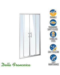 framed shower screen with dual sliding doors