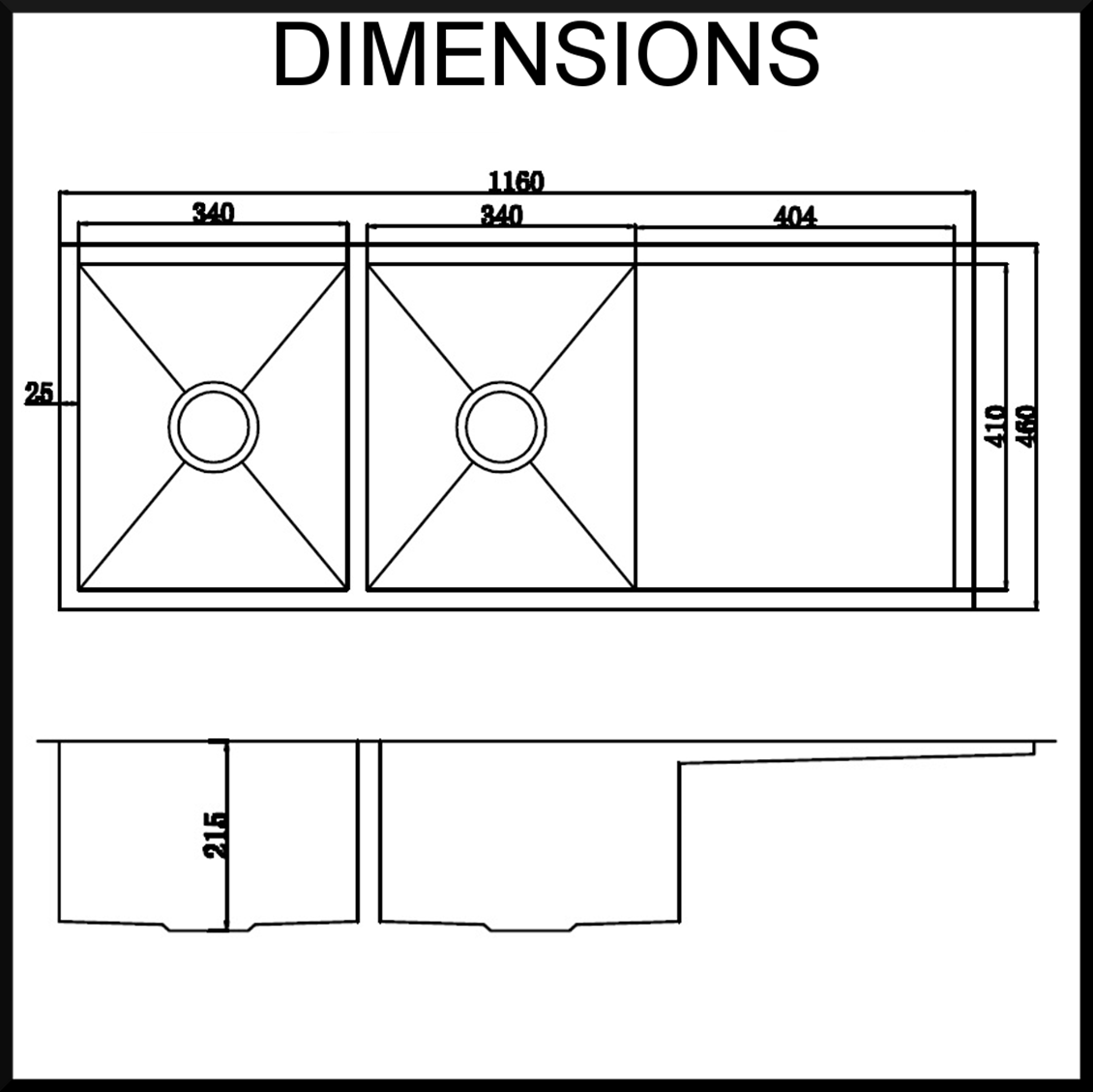 Undermount kitchen sink dimensions for U kitchen dimensions