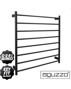 EZY FIT Heated Towel Rail - Round Tube - Dual Wired - (W900mm x H920mm) - Matte Black