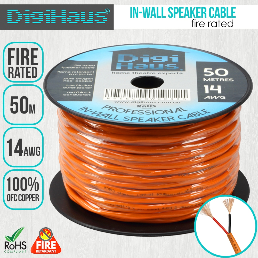 50m 14AWG Speaker Cable, for In-Wall Installation, Fire Rated   eBay