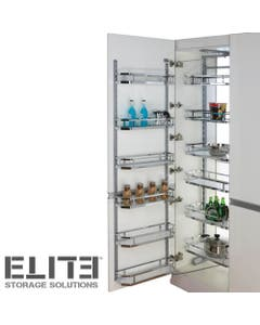 minimalist open out pantry with thin stainless steel baskets