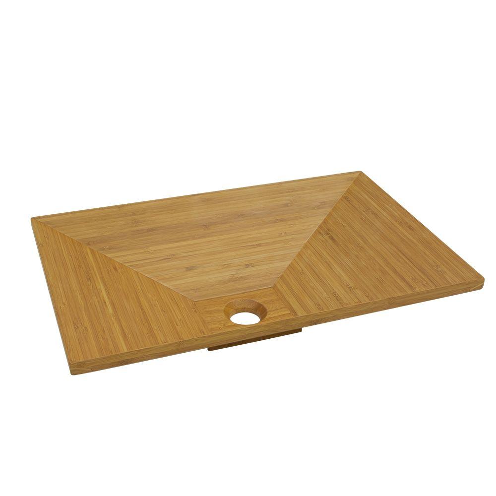 Modern angular bamboo basin above counter top bowl luxury for Modern bamboo bathroom vanity