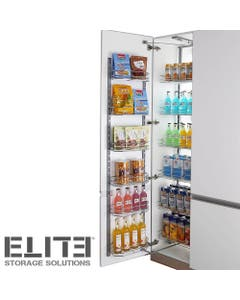 open out pantry storage unit with stainless steel wire baskets