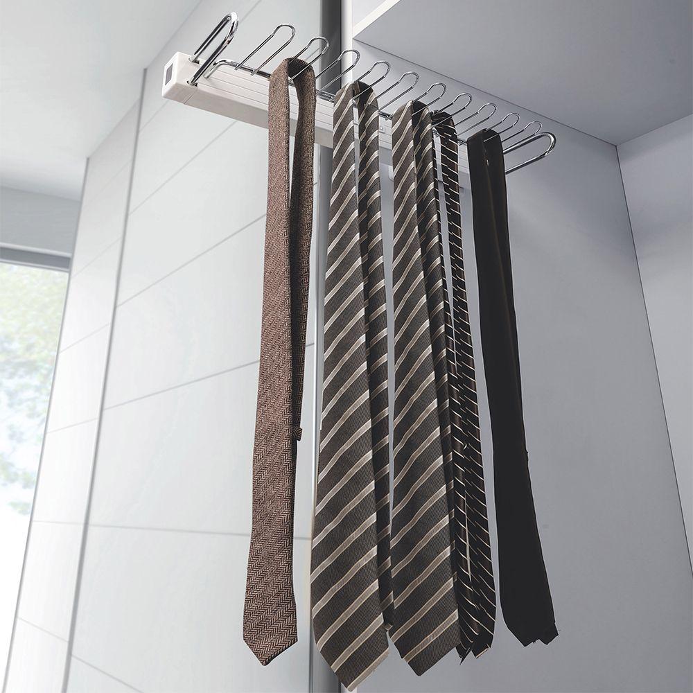side mounted slide out tie hanger rack closet organiser wardrobe storage pull ebay. Black Bedroom Furniture Sets. Home Design Ideas