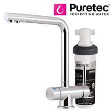 Puretec Z1 Tripla - T6 Three-Way Kitchen LED Mixer Tap with Undersink Filter - Angled Neck