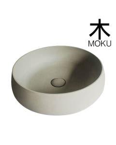round solid limestone bathroom basin 440mm wide by Moku