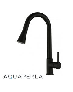 round black pull out kitchen mixer tap bell