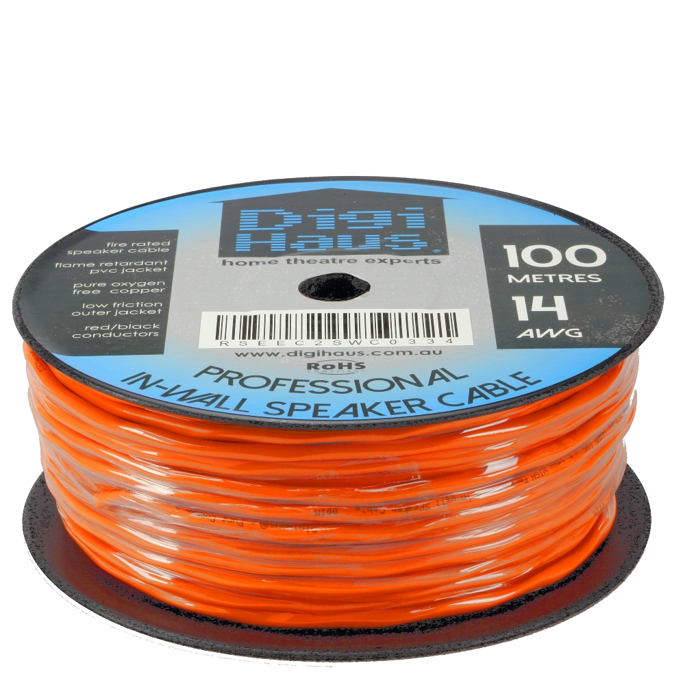 100m 14AWG Premium Speaker Cable Wire Roll Pure OFC Fire Rated In ...