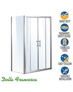 double sliding door framed shower glass enclosure