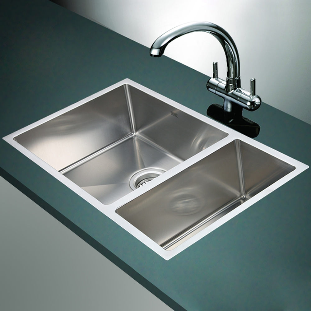 Top Mount Stainless Steel Farmhouse Sink : Stainless Steel Kitchen Sink - 1 1/2 Bowl Round Corners - Under/Top ...