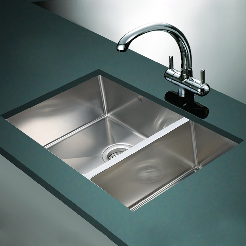 Stainless Steel Kitchen Sink - 1 1/2 Bowl Round Corners - Under/Top ...