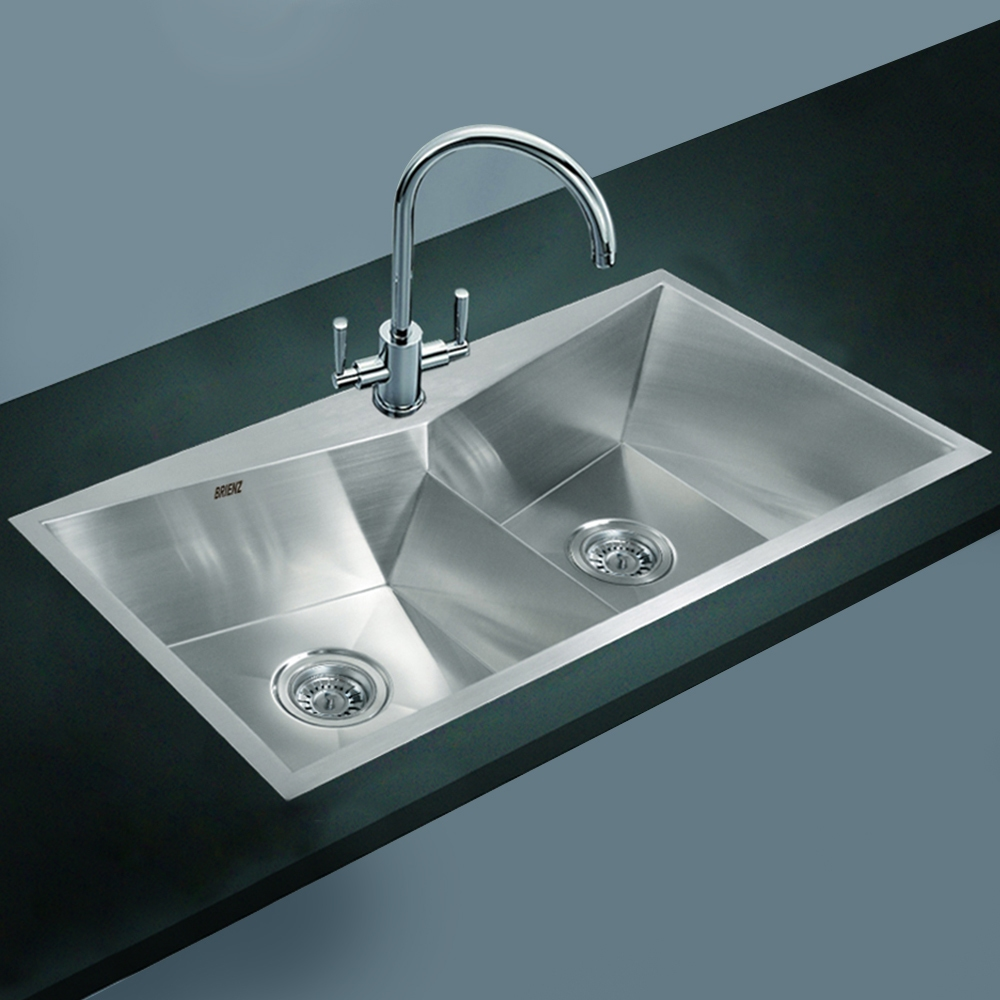 ... Steel Kitchen Sink - Twin Double Bowl Square Corners - Top Mount