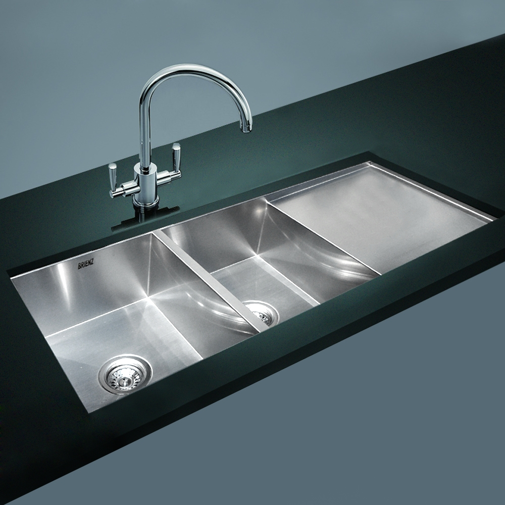 Stainless Steel Kitchen Sink - Double Bowl with Drainer - Square ...