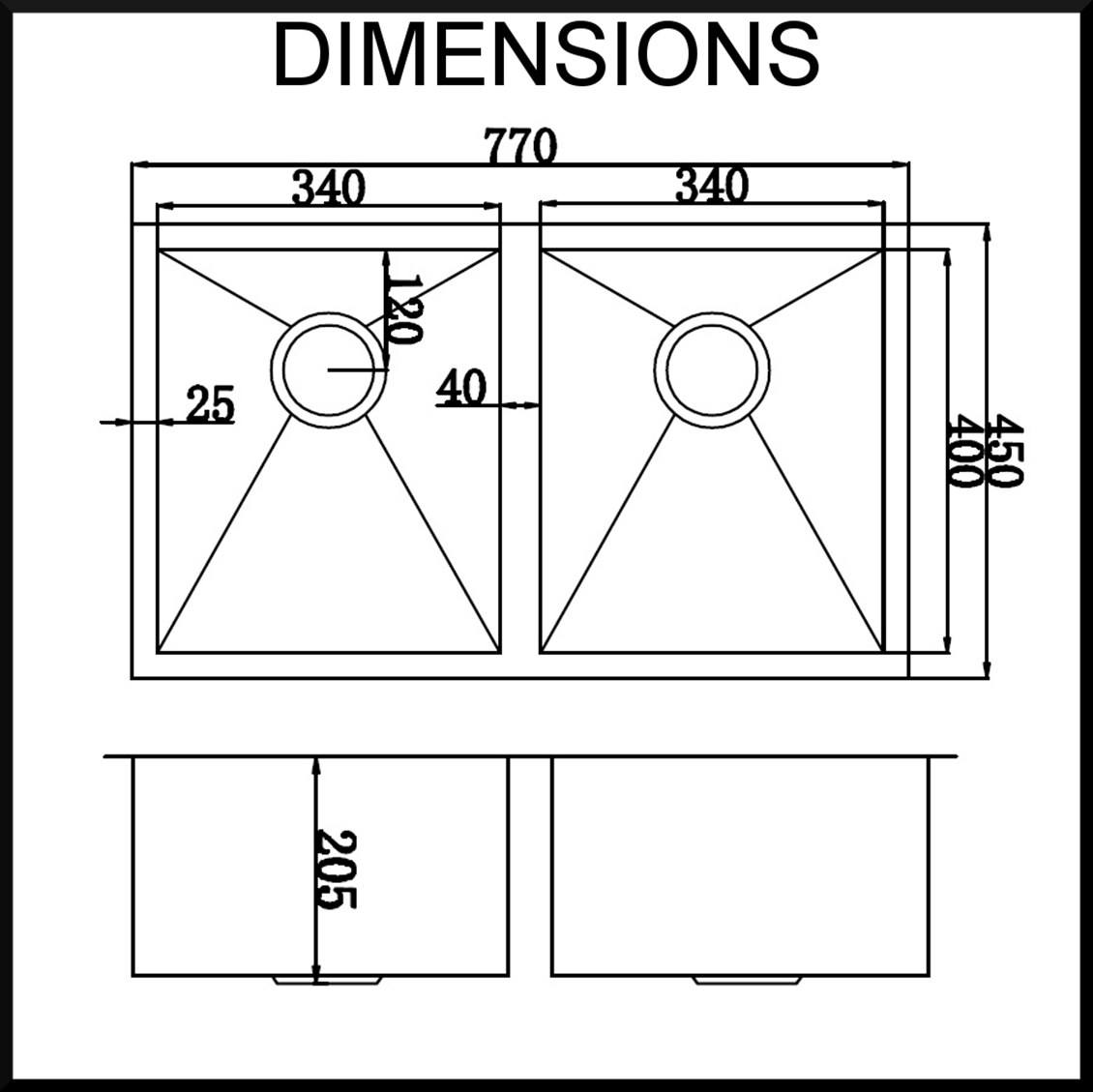 stainless steel kitchen sink dimensions