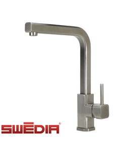 SWEDIA Cubex Kitchen Mixer Tap - Brushed Stainless Steel - 360 Swivel