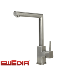 SWEDIA Isar Kitchen Mixer Tap - Brushed Stainless Steel - 360 Swivel