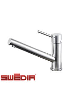 swedia oskar low kitchen mixer tap non pull out polished chrome