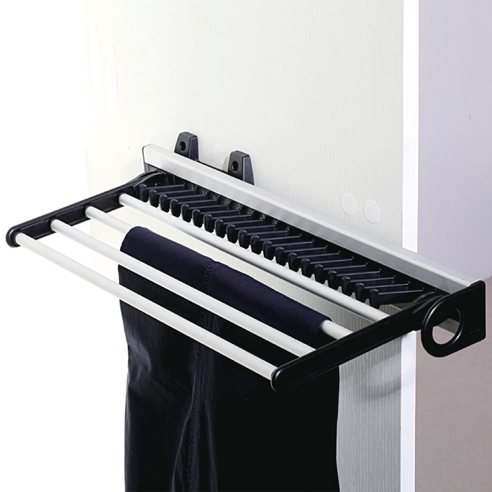 trousers pants hanger tie scarf rack side mounted slide out closet organiser ebay. Black Bedroom Furniture Sets. Home Design Ideas