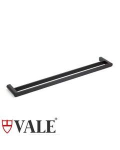vale matte black towel rail double bar 750mm