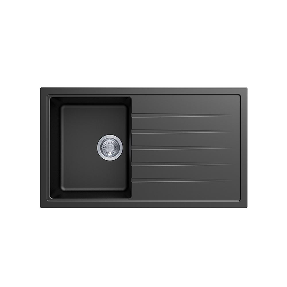 Carysil Vivaldi D100 Granite Kitchen Sink - 860 x 500mm Single Bowl with Drainer