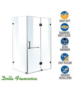 wide glass shower enclosure with swivel door