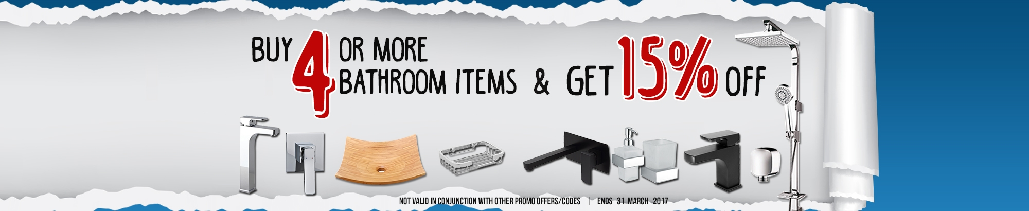 Buy 4 or more bathroom items and GET 15% OFF