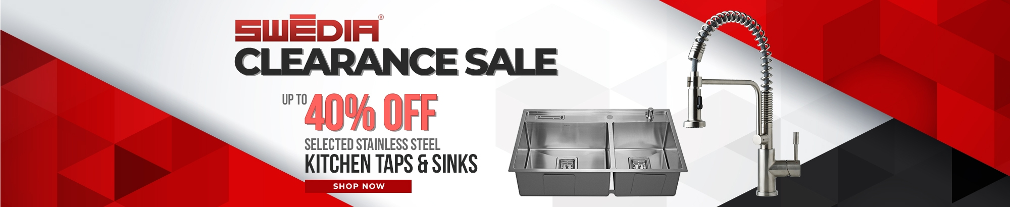 Up to 40% OFF Swedia Kitchen Taps and Sinks