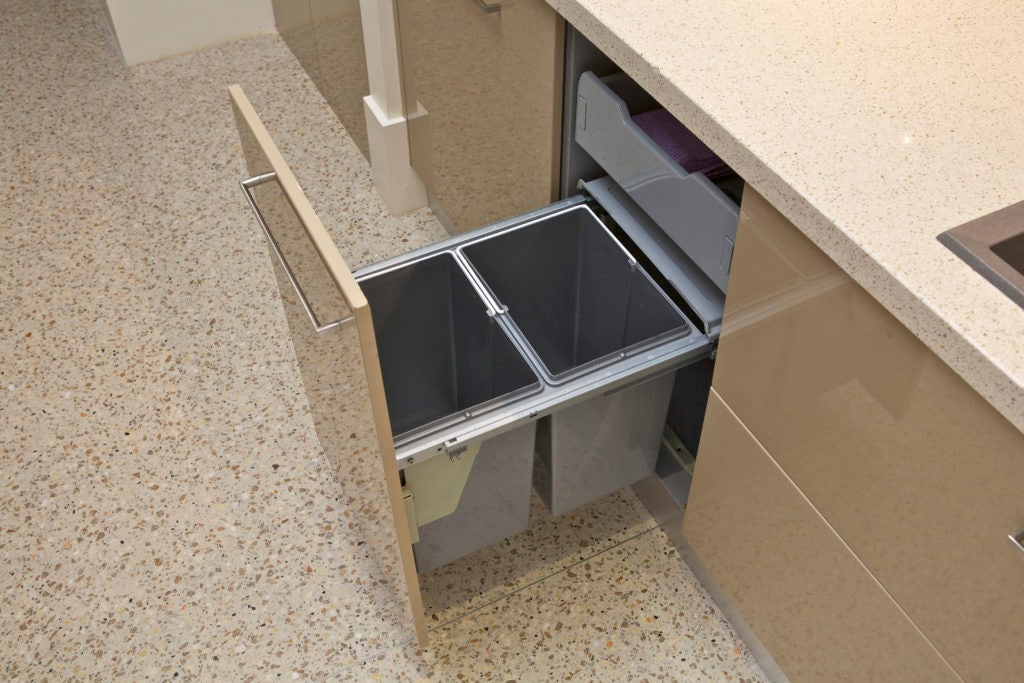 Domestique 40L Twin Slide Out Concealed Waste Bin - for a 450mm Cupboard