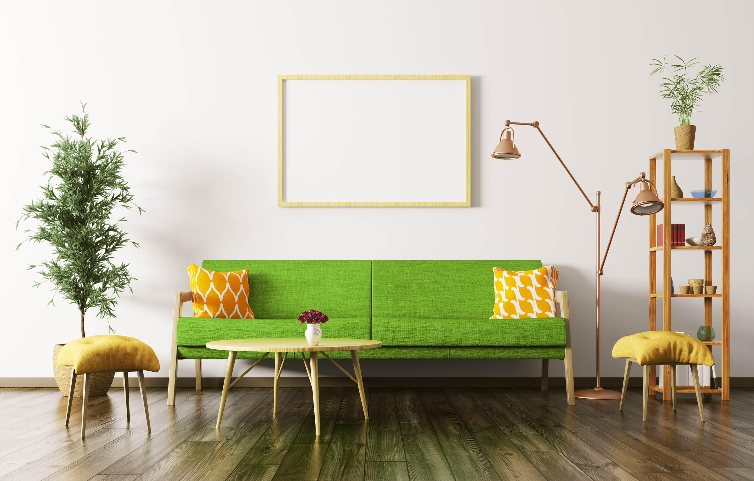modern interior rendering of living room with green sofa coffee table plant shelf