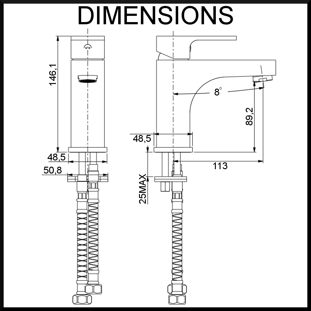 basin mixer dimensions