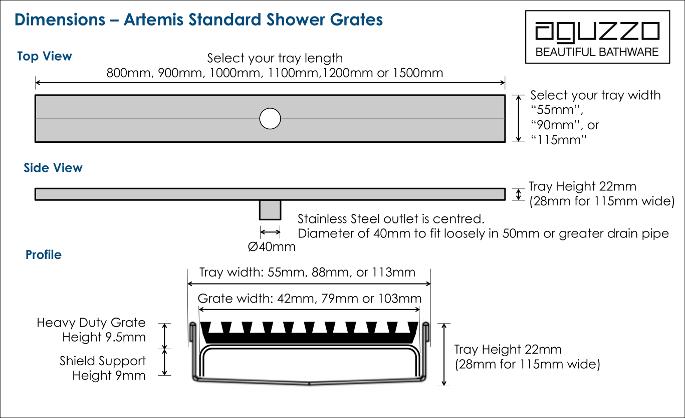 tile insert shower grate dimensions