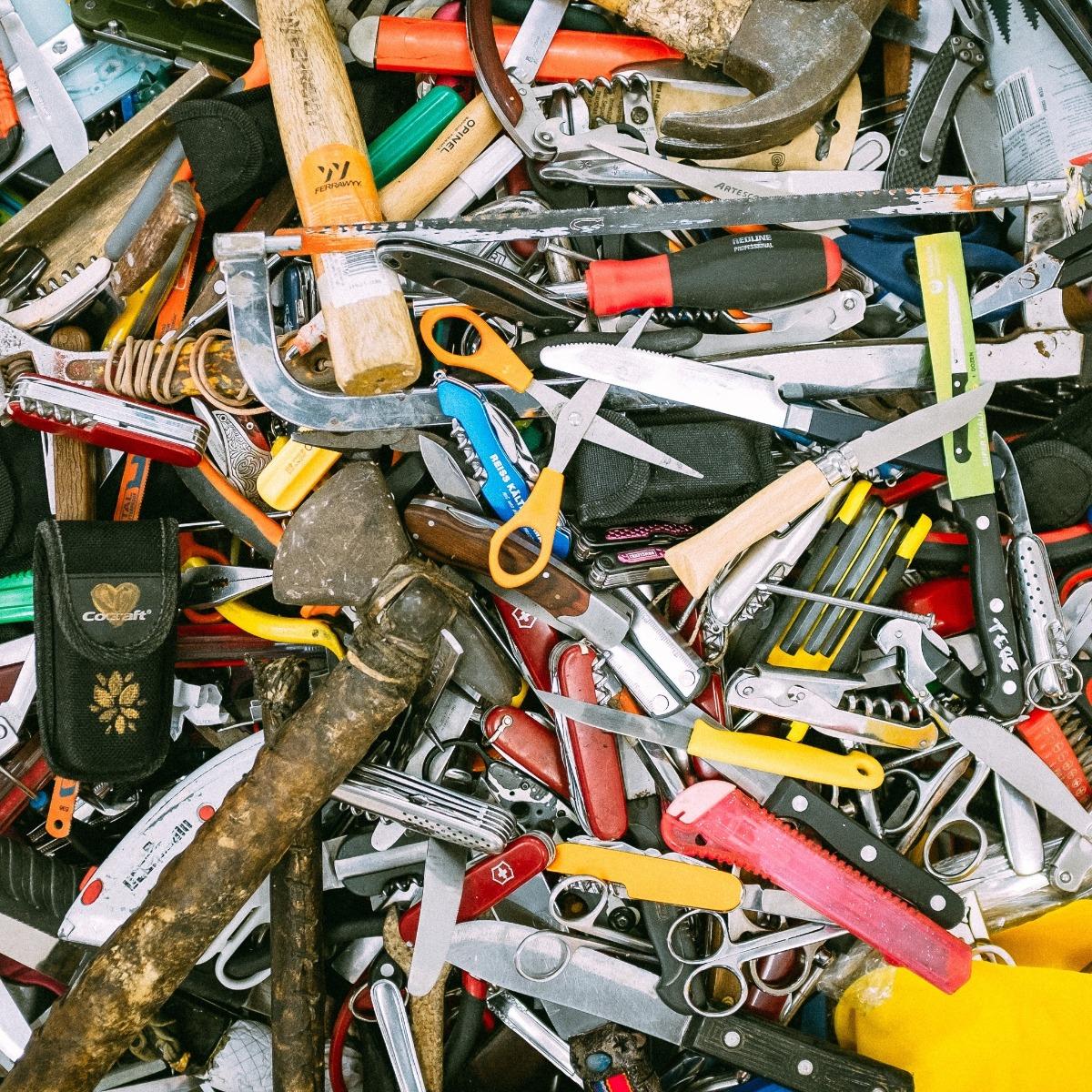 pile of DIY tools