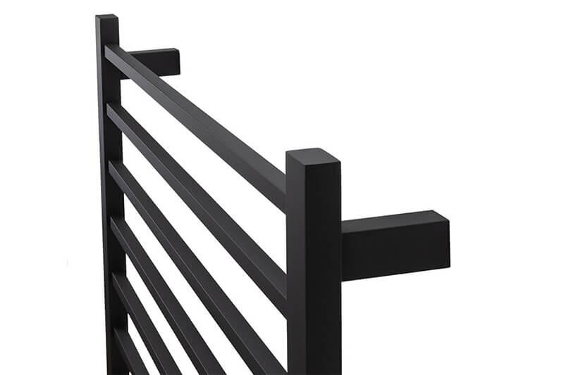 black heated towel rail