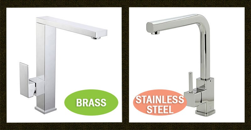 stainless steel or brass kitchen taps