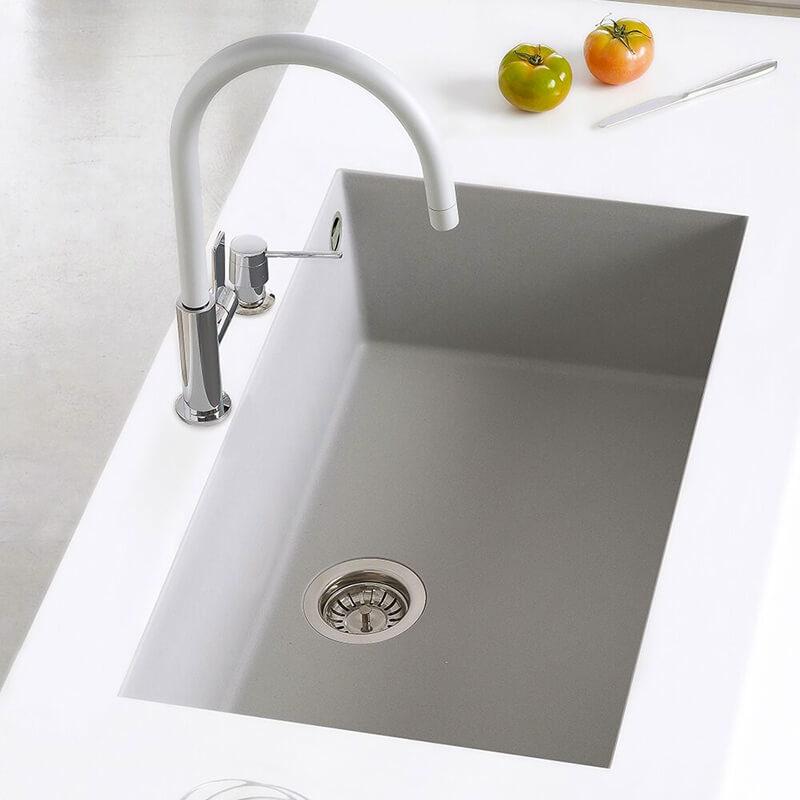 kitchen sink white granite composite