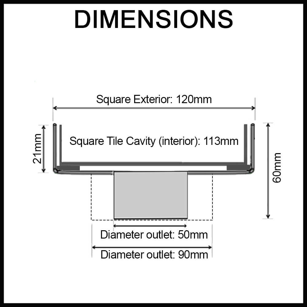 black tile insert floor waste dimensions